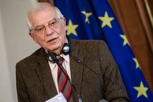Josep Borrell, en la rueda de prensa ofrecida este lunes en Berlín.