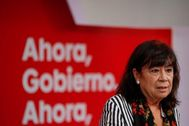 Cristina Narbona, en la rueda de prensa celebrada este lunes en Ferraz.