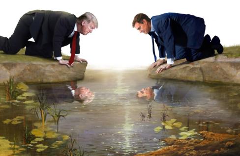 Donald Trump, presidente de EEUU, y Pedro Sánchez, presidente del Gobierno, observando su propio reflejo en el agua.