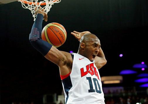 FILE PHOTO: Bryant of the U.S. dunks against Spain during their men's...