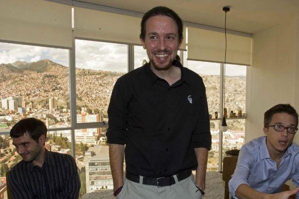 Bustinduy, Iglesias y Errejón, en La Paz, en 2014.