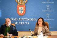 Los diputados José María Rodríguez y María del Carmen Vázquez, en una comparecencia, en Ceuta.