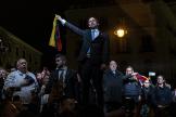 El presidente encargado de Venezuela, Juan Guaidó, en su visita a Madrid, este 25 de enero.