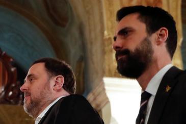 El líder de ERC Oriol Junqueras y el presidente del Parlament Roger Torrent.