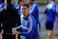 Kagawa, en un entrenamiento con el Zaragoza.