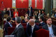 Oriol Junqueras, ignorando el saludo que Quim Torra dedicaba a los acusados por el 1-O en su visita al juicio que se celebró en el Supremo.