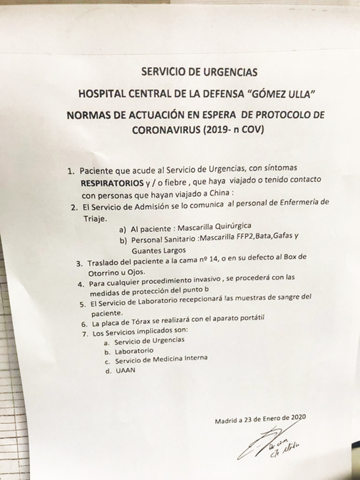 Instrucciones recibidas por el personal de Urgencias del Gómez Ulla.