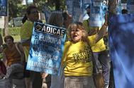 Una protesta contra las cláusulas suelo organizadas por Adicae.