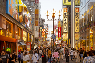 Las calles peatonales paralelas al canal <strong>Dotombori-gawa</strong> son el punto neurálgico para las compras y el <em>street food</em> en Osaka. Y lo son no solo para los turistas sino también para los propios habitantes de la ciudad, que suelen abarrotar los restaurantes los fines de semana.