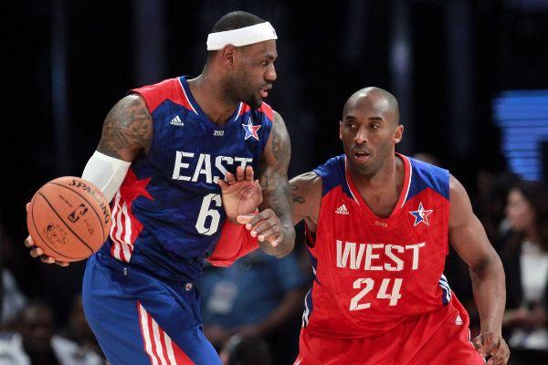 LeBron James y Kobe Bryant, durante un All-Star.