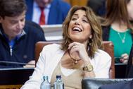 Susana Díaz, durante el debate celebrado el pasado martes en el Parlamento andaluz.