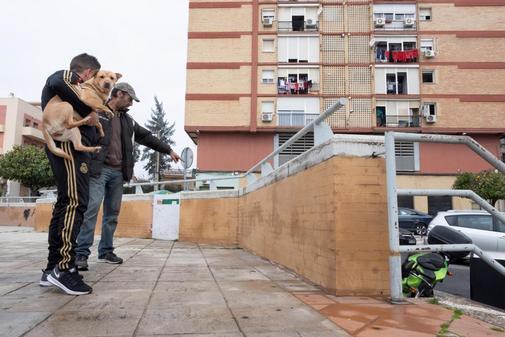 Unos vecinos observan en la plaza Blas Infante los restos de sangre en...