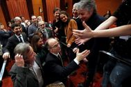 Jordi Turull, durante su llegada al Parlament el viernes.