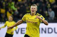 Haaland celebra este sábado un gol ante el Union Berlin.