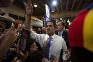 Juan Guaidó, durante su encuentro de este sábado con simpatizantes en Miami, Florida.