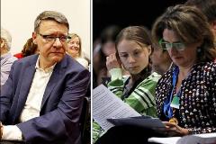 El ex presidente de Red Eléctrica Jordi Sevilla y la vicepresidenta Teresa Ribera junto a Greta Thumberg durante la cumbre del clima.