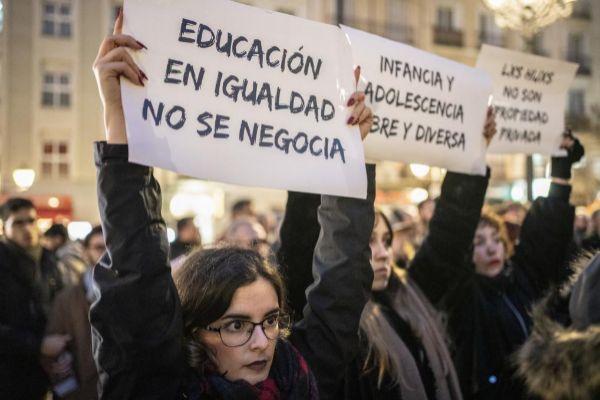 Imagen de una manifestación contra el 'pin parental' en Madrid.