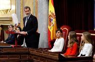 Felipe VI, durante su discurso en la apertura de la XIV Legislatura.