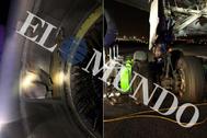Detalle del motor y de la rueda del B-767 de Air Canada que aterrizó de emergencia, este lunes, en el aeropuerto de Madrid-Barajas.