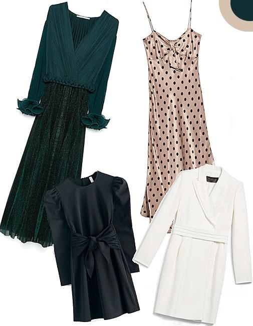 De izda. a dcha.: Vestido largo plisado, de Uterqüe (129 euros). Little lack dress, de &OtherStories (69 euros). Vestido lencero con topos, de Zara (29,90 euros). Vestido de tipo esmoquin, de MaxMara (1.094 euros).