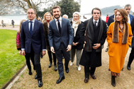 De izqda. a dcha., Alfonso Alonso, Pablo Casado, José María Aznar y Ana Botella, a su llegada a la inauguración de la exposición 'Gregorio Ordóñez', en San Sebastián.
