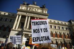 Protestas de agricultores y ganaderos este miércoles en Madrid.
