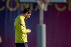 Leo Messi, durante el entrenamiento de este miércoles.