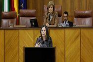 La diputada de Vox Ángela Mulas, que defendió este jueves la propuesta.