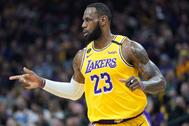 LeBron James, durante el partido de los Lakers.