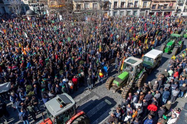 Manifestación del sector agrario, el pasado martes, en Toledo.