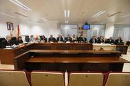 La magistradas, las acusaciones y las defensas el último día del juicio por el 'crimen de Polop'.