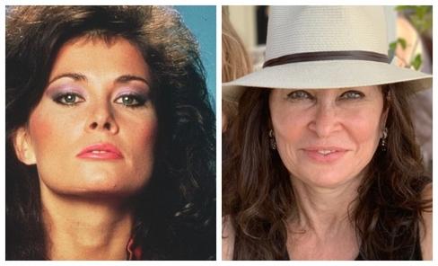 Jane Badler, caracterizada como Diane (i), y en la actualidad.