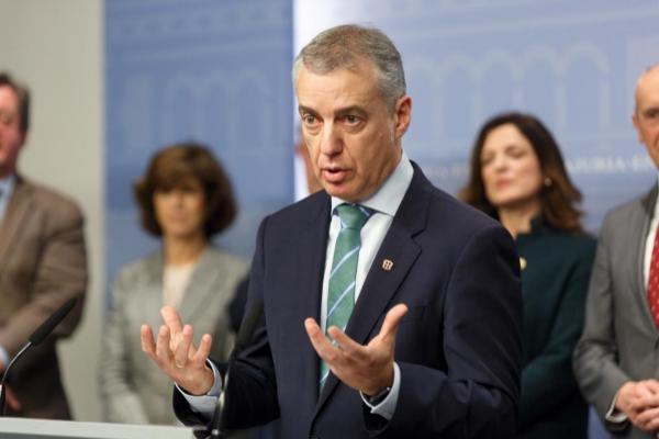 Iñigo Urkullu, en la comparecencia en la que anunció el adelanto...