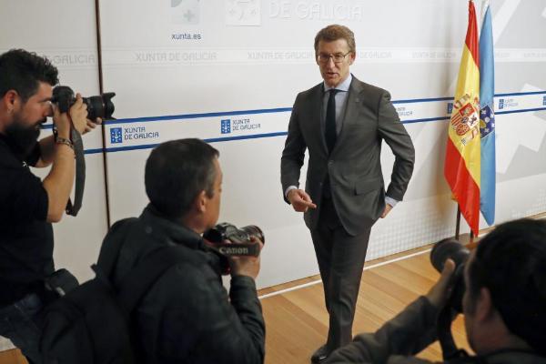 El presidente de Galicia, Alberto Núñez Feijóo, este lunes, tras el...