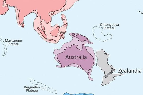 Mapa con el continente desaparecido Zelandia.