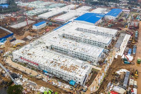 Vista aérea del hospital de Wuhan, construido en menos de un mes por la epidemia de coronavirus.