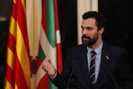 El presidente del Parlamento catalán, Roger Torrent, en un acto de la cámara el pasado lunes.