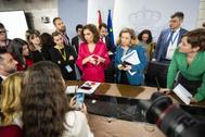 María Jesús Montero y Nadia Calviño, tras la rueda de prensa posterior al Consejo de Ministros.