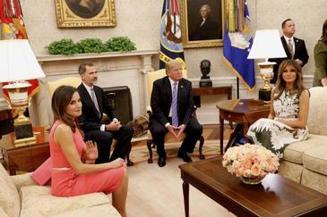 Los Reyes con Donald Trump y su esposa Melanie Trump, en la Casa Blanca, en junio de 2018.