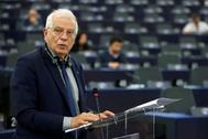 El alto representante de la UE para Asuntos Exteriores, Josep Borrell, este martes, en el Parlamento Europeo.