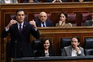 Pedro Sánchez, durante la sesión de control al Gobierno.