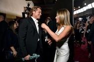 Brad Pitt y Jennifer Aniston en el backstage de la entrega de Premios del Sindicato de Actores 2020, en la que ambos fueron premiados