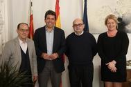 Urbina, Mazón, Cabezas y Serna, ayer tras la reunión en la Diputación.