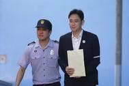 El líder de Samsung, Lee Jae-yong, tras su condena por corrupción en 2017.