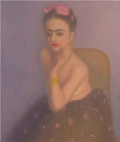 'Frida fumando en rosa.'