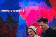 Una pareja en Moscú en el día de San Valentín.
