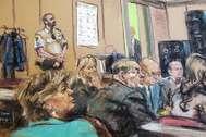 Ilustración de la jornada del juicio con el alegato final de la fiscal contra Weinstein.