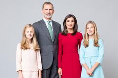 Los Reyes de España Felipe y Letizia y sus hijas Leonor y Sofía