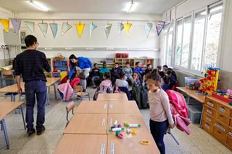 Aula de una escuela  de Barcelona.