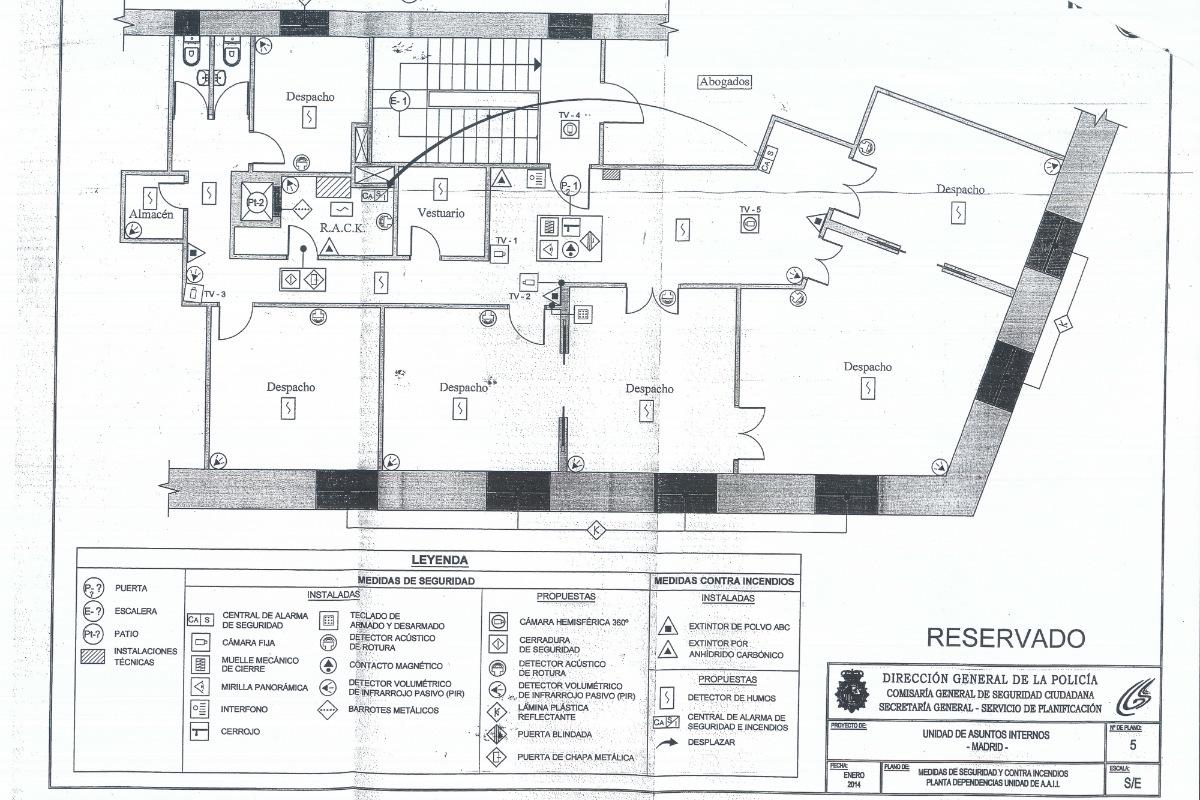 Plano de la vivienda y sus medidas de seguridad.
